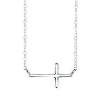 Sterling Silver Chain with Sideways Cross Pendant - Silver : Target