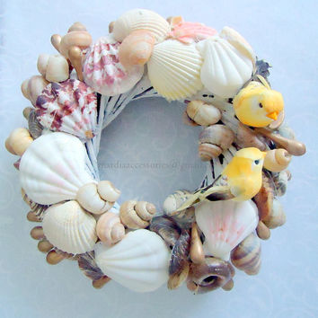 Easter Wreath - door wreath   - Spring wreath with birds,Natural Seashell wreath  Home decor Tabletop Centerpiece  Gift