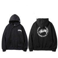 Stussy Basic hoodie  Fashion Print Long Sleeve Cotton Top Sweater Pullover