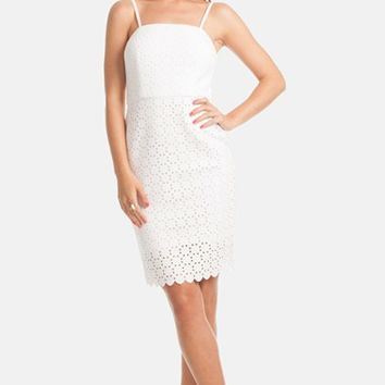 Women's Trina Trina Turk 'Pernilla' Laser Cut Scuba Sheath Dress