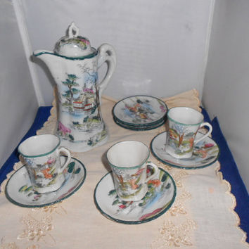 Chocolate pot teapot set beaded painted design with teacups and saucers Japan