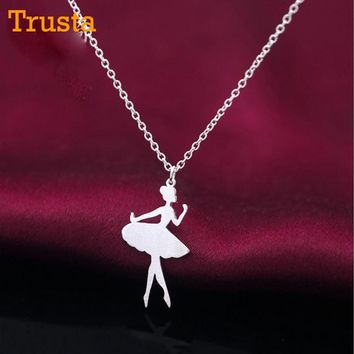 Trusta 2018 New Women's Fashion 925 Sterling Silver Jewelry Sweet Ballet Dancer Pendant Short 42cm Necklace Gift Girl Lady DS300