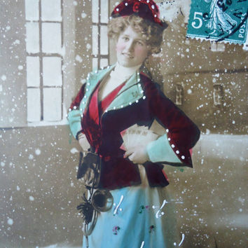 Antique french postcard - lady winter snow street long dress hat hand tinted rppc 1910 1920, vintage postcard