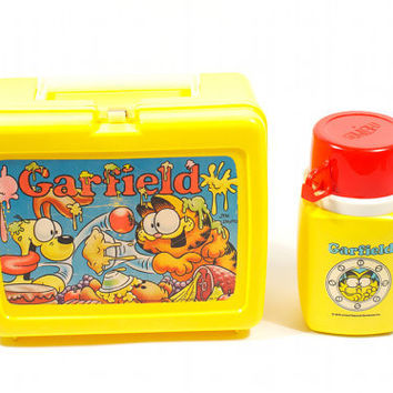 Garfield Lunchbox 1978 Thermos Odie Food Yellow Cartoon Retro / Vintage 70s