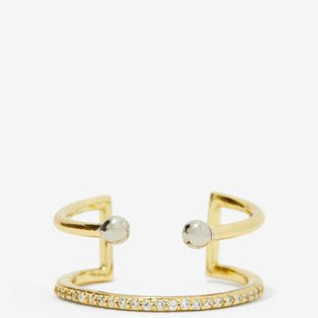 Luv AJ Barbell 14K Gold-Plated Ring