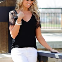 * Macy V Neck Tee With Lace Sleeves : Black