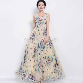 Summer Off the Shoulder Ladies Chiffon Dress Floral Bohemian Sleeveless V-neck Ankle-Length Women Dress Brand Vestidos