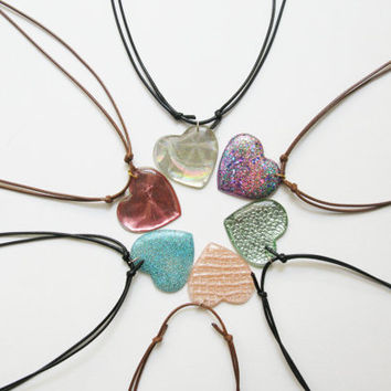 Heart Pendant Necklace, Resin Heart Necklace, Iridescent Pendant, Sparkling Jewelry, Teens Gift, Adjustable Cord Pendants, Choose your Color