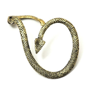 Serpent Earring Ear Cuff Metal Wrap Gold Tone CA04 Exotic Snake Leviathan Fashion Jewelry