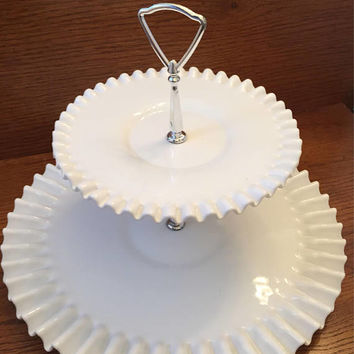 Hobnail Milk Glass Two Tiered Dessert Tray, Cupcake Stand, Dessert Plate, Wedding Decor