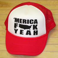 Snap Back Hat 'Merica Fuck Yeah 4th Of July