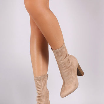 Vegan Suede Stretch Fit Chunky Heel Booties