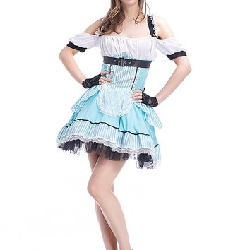 Adult Women Dorothy Princess Costume Lace Dress Blue Cold Neck Outfit Wizard of Oz Halter Short Backless Party Dress For Girls