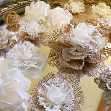 Set of 20 Handmade Natural Burlap & Ivory Lace Flowers for weddings, bouquet making, wedding decor, cake toppers,