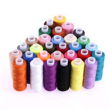 30Pcs Sewing Threads Polyester Cotton Thread Craft Patch Steering-wheel Supplies Colorful 250 Yards Machine Embroidery Thread