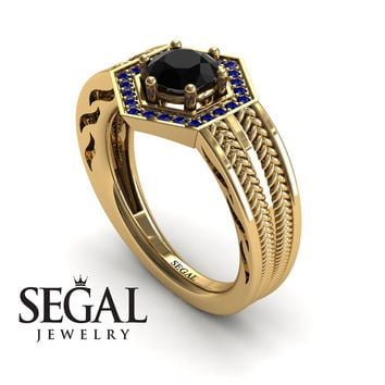 Unique Engagement Ring 14K Yellow Gold Vintage Art Deco Edwardian Ring Filigree Ring Black Diamond With Sapphire - Peyton