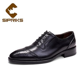 Sipriks Mens Best Formal Leather Shoes Elegant Rubber Sole Brogues Italian Custom Goodyear Welted Shoes European Wedding Flats
