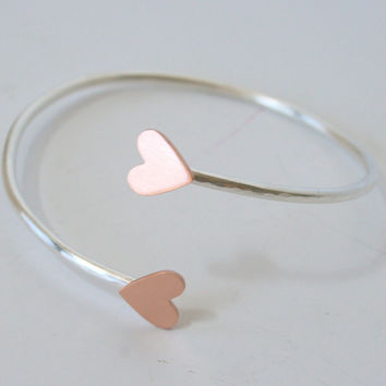 Open ended cuff with hearts- copper and silver heart cuff