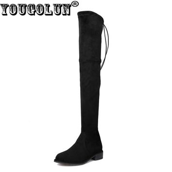 YOUGOLUN Women Thigh High Boots Sheepskin Suede 2017 Autumn Winter Lowland Square Heel 3 cm Low Heels Black Lace up Shoes #N-200