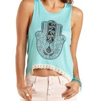 Crochet-Trim Graphic High-Low Muscle Tee by Charlotte Russe