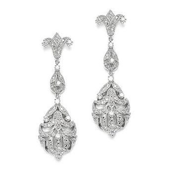 Art Nouveau Platinum AAAA Cubic Zirconia Dangle Earrings