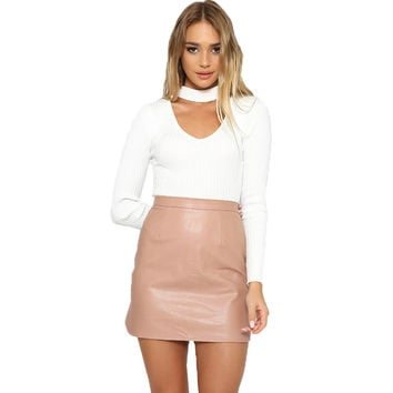 High Waist Classic Faux Leather Skirt Bodycon Pencil Skirts