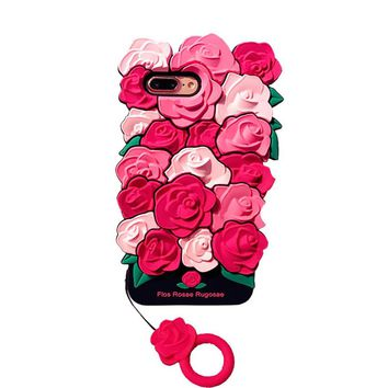 Valentine Gift Luxury 3D Rose Flower Romantic Soft Silicon Phone case Back Cover For iPhone 7 8 Plus 6 6S 6 Plus Coque