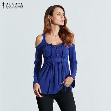 ZANZEA Women Blouses Autumn 2017 Sexy Blusas V Neck Long Sleeve Off Shoulder Lace Up Casual Tops Tee Solid Shirts Plus Size