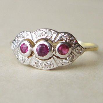 Art Deco Diamond  and Ruby Engagement Ring, Vintage 14k Gold Ruby & Diamond Ring, Approx.Size US 7.25