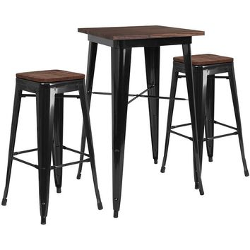 "23.5"" Square Metal Bar Table Set with Wood Top and 2 Backless Stools"