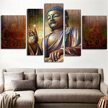 Unframed 5 Piece Home Decoration Wall Art Large Size HD Canvas Painting Printed Buddha