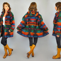 vtg 80's WOOLRICH southwestern geometric native boho hooded BLANKET COAT, small-medium