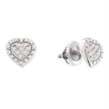 Sterling Silver Women's Round Diamond Small Heart Cluster Screwback Stud Earrings 1-20 Cttw - FREE Shipping (USA/CAN)