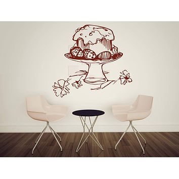 Vinyl Decal Cooking Cafe Easter Cake with Painted Eggs Easter Wall Sticker Decor Unique Gift (n516)