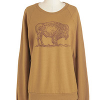 ModCloth Rustic Mid-length Long Sleeve Sweatshirt Buffalo and Behold Sweatshirt