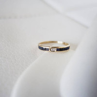 14k Sapphire hued Spinel Vintage Natural Diamond Solid Yellow Gold Antique Genuine Diamonds Art Deco birthstone stacking wedding band ring