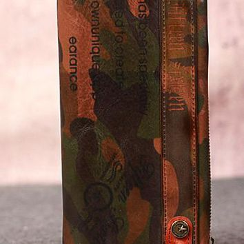 Leather camouflage men clutch long wallet vintage clutch long wallet purse clutch