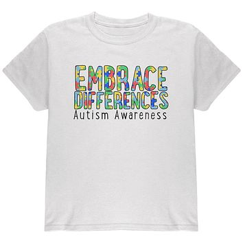 Autism Awareness Embrace Differences Youth T Shirt