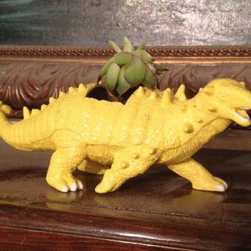 Up-cycled Yellow Dinosaur Planter