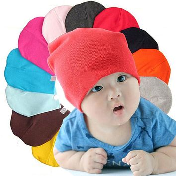 Kids pure cotton soft hats boy girl lovely candy multi color Toddler Infant caps for Spring Autumn Winter baby Beanies hot sale