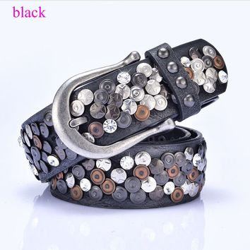Punk Western woman cowgirl Rhinestone Leather Crystal Rivet Women Belt A037