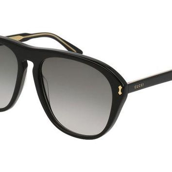 DCCKUG3 GUCCI GG0128S 007 Black Acetate Aviator Men's Sunglasses