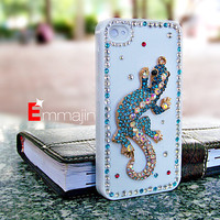 Blue crystal  Lizard  iPhone 4 case,iphone 4S  case ,  cabite iphone4 case,white  Diamond iphone 4 4scase,Iphone animal case