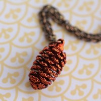 Long Copper Dipped Pine Cone Necklace, Small Pendant, Long Antiqued Chain, Genuine Nature Jewelry, Unique Jewellery