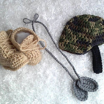 Crochet military baby photo prop, newborn photography prop, free shipping, military accessories