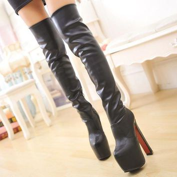 ca ICIKTM4 On Sale Hot Deal Club Round-toe High Heel Waterproof Boots [11203293959]