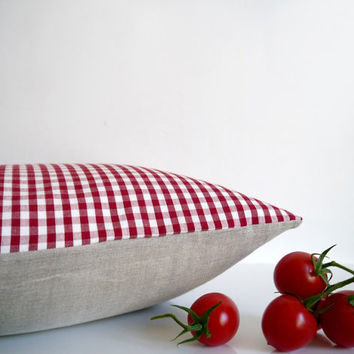 Red gingham pillow - red check with natural linen, organic cotton throw pillow, cushion cover