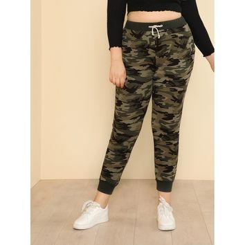 Plus Camo Print Tapered Sweatpants