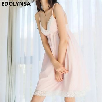 Sexy Nightgowns Sleepshirts 2017 Home Dress Pink Nightwear Sleep & Lounge Lace Nightgown Solid Sleepwear Female Nightdress #H267
