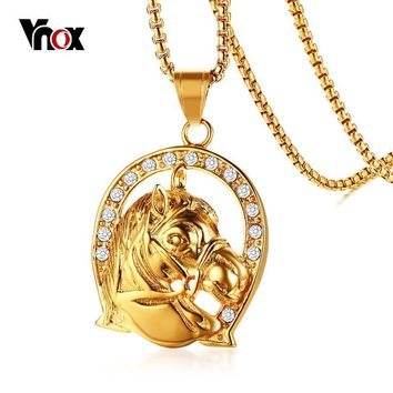 """Vnox Rock Pendant Gold Color Stainless Steel Horse Men Necklace AAA CZ Stones Punk Unisex Jewelry 24"""" Box Chain"""